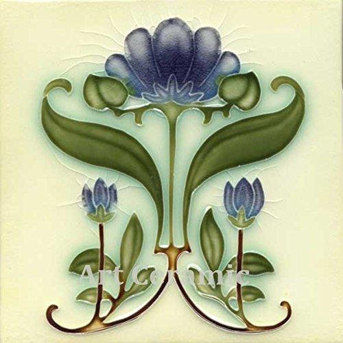 Art Nouveau Ceramic Tile 6 Inches Reproducction #0044 ()