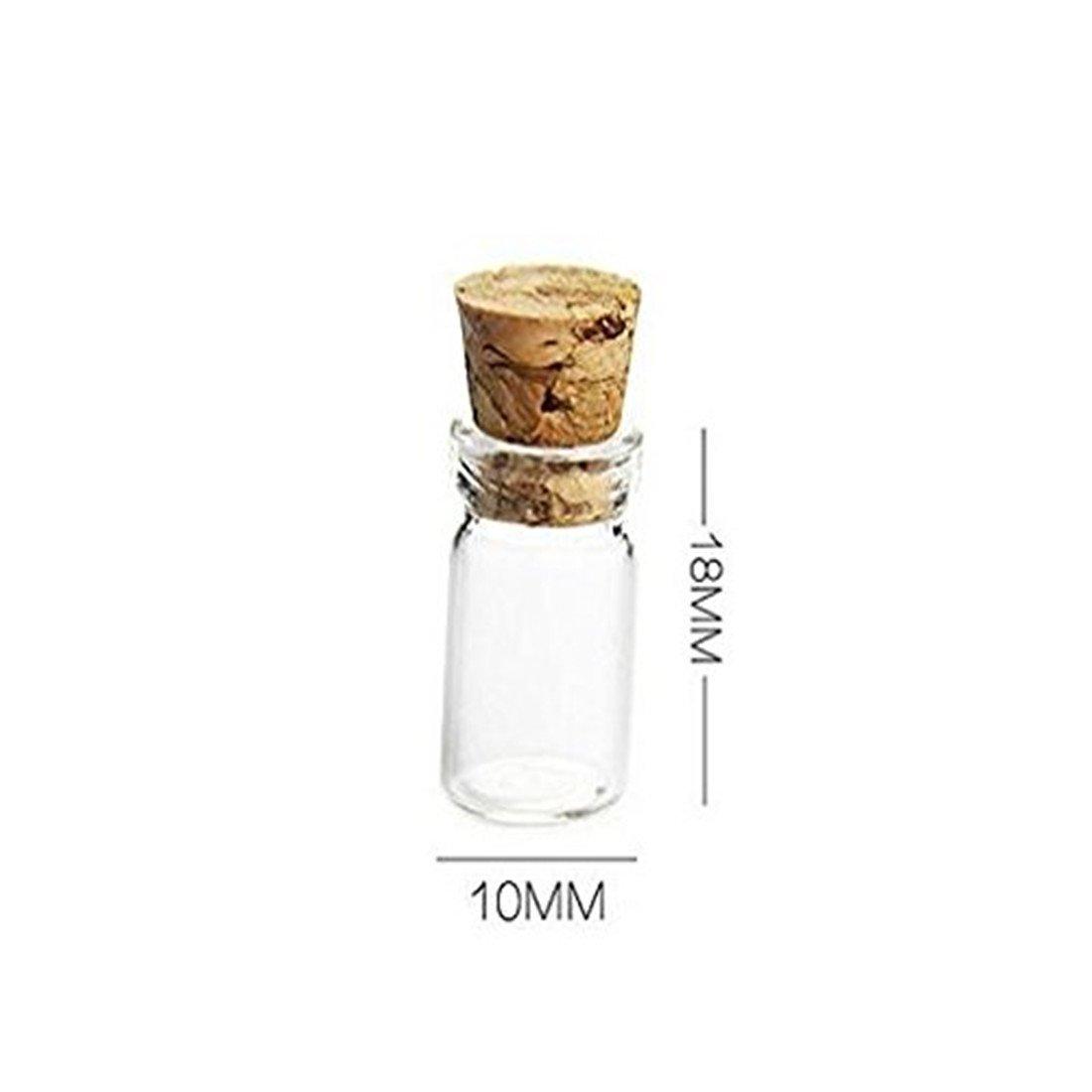 Bottiglie Trasparenti per Grandi Feste ASKCUT 50/Pcak 0.5/ml Mini Piccolo Trasparente bottigliette in Vetro con Tappo in Sughero Interni Ecoration Matrimoni Wish ed DIY design-10/x 18/x 15/mm