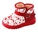 Cattior Toddler Little Kid Buckle Warm Winter Snow Boots Kids Leather Boots (13 M, Red)