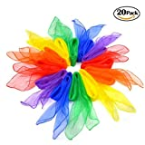 Bombom Tree 20 Pcs Dance Scarves Juggling Scarves Magic Scarves Rhythm Band Scarves, 20 Colors, 60cm x 60cm
