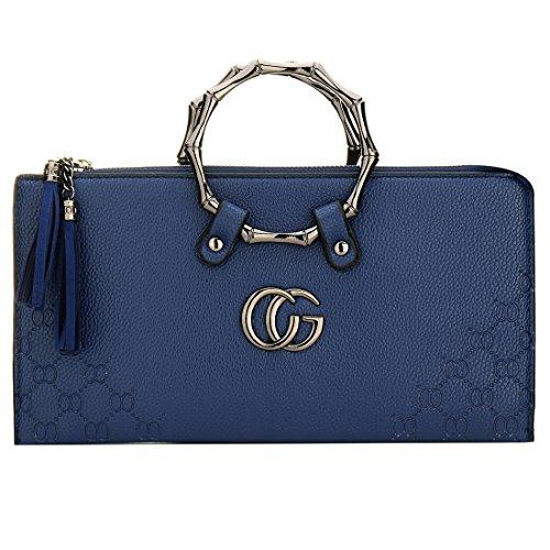 Handbag EROUGE Metal Leather Flap Womens Evening Blue Clutch Envelope Fashion qPTPRt