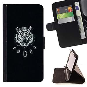 BullDog Case - FOR/Samsung Galaxy S3 Mini I8190Samsung Galaxy S3 Mini I8190 / - / black tiger vintage art leather pattern /- Monedero de cuero de la PU Llevar cubierta de la caja con el ID Credit Card Slots Flip funda de cuer