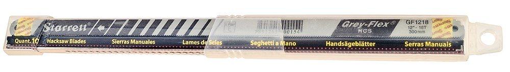 Starrett KGF1218-10 High Carbon Steel Grey Flex Hand Hacksaw Blade, 0.025