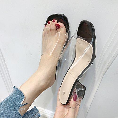Qingchunhuangtang @ Tau Sandalias Transparentes Zapatos De Tacón Alto En La Playa Con Los Deslizadores Frescos Del Negro Calidad superior barata PHwtKCaH