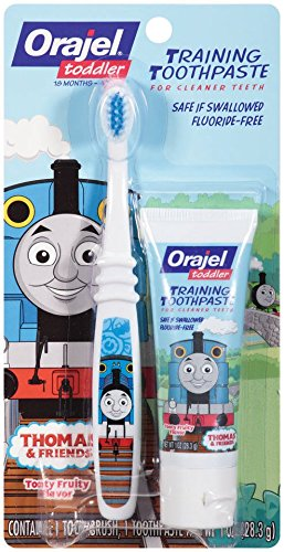 Price comparison product image Orajel Thomas and Friends Fluoride-Free Training Toothpaste with Toothbrush, Tooty Fruity, 1.0 Oz