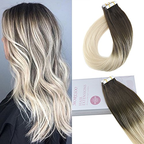 Moresoo 18 Inch Balayage Human Remi Hair Extensions Glue on Hair 20PCS Hair Extensions Tape in Real Human Hair 50G Invisible Tape in Remy Human Hair Balayage Brown #2 Ombre (Remi Human Hair Extensions)