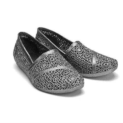 Chemistry Y502 Womens Glittered Zig Zag Weaving Woven Bird Nest Mesh Cozy Candy Slip-on Jelly Ballet Sandal Flat Loafer Black
