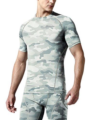 TSLA Mens Cool Dry Compression Baselayer Short Sleeve T-Shirt, Zero(r13) - Camo Light Grey, X-Small