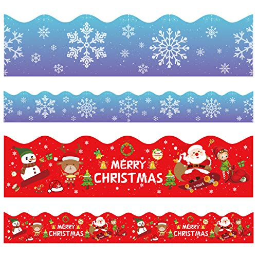 Christmas Bulletin Board Borders, Yoklili 2-Rolls Snowflakes Santa Claus Reindeer Elf Snowman Theme Scalloped Border Trim for Classroom Chalkboard Whiteboard Home Decoration, 72 ft (Christmas Borders For)