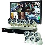 REVO America RG161D6CB6CM24-4T Genesis HD 16 Ch. 4TB NVR Surveillance System with 12 1080p 2MP Cameras (White)