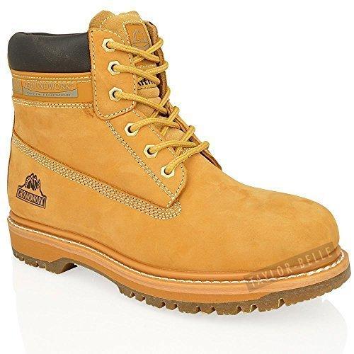 BOTINES DE CORDONES DE SEGURIDAD DE CORDONES BOTAS DE TRABAJO DE PUNTA DE ACERO PARA HOMBRES TALLA EU 39-47 - MIEL, 45: Amazon.es: Zapatos y complementos