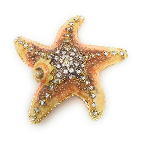 Kubla Crafts Enameled Nautical Starfish Trinket Box by, Accented with Austrian Crystals