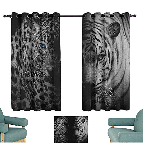 (Sanring Black and White,Backout Drapes Leopards with Blue Eyes Aggressive Powerful Wildcat Profile Print 42