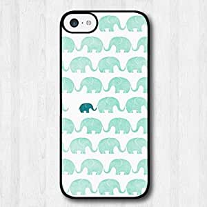 For iPhone 5C Case, Fashion Design Mint Green Elephants Pattern Protective Hard Phone Cover Skin Case For iPhone 5C +Screen Protector