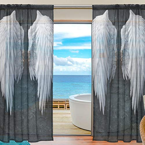 XiangHeFu Sheer Curtain Tulle Black Night Angel Wings Voile Window Curtains for Bedroom,55(W) x84(L) Inch,2 Panels