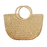 Hand-woven Straw Large Hobo Bag for Women Round Handle Ring Toto Retro Summer Beach (Khaki)