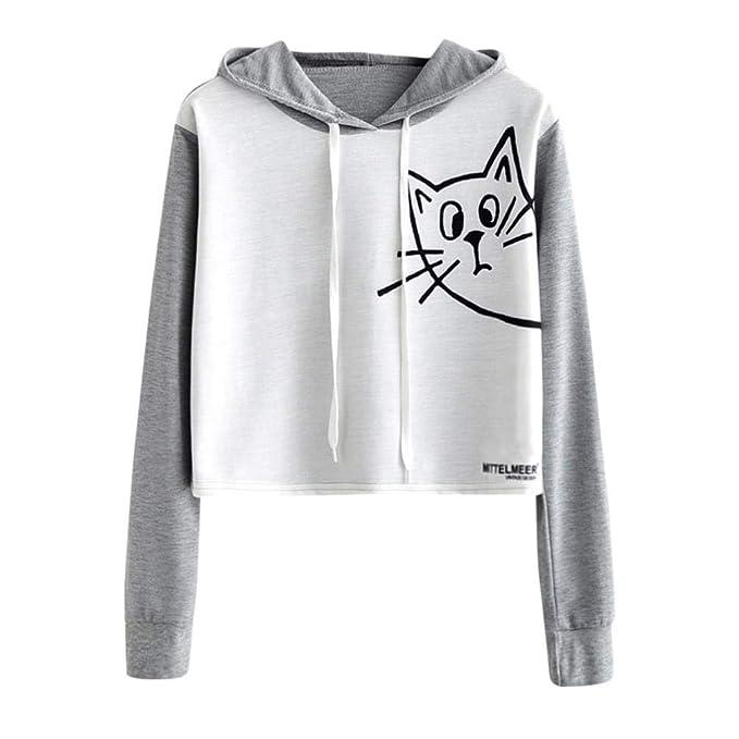 Otoño Invierno Sudaderas Mujer Tumblr con Capucha Blusa Camiseta de Manga Larga con Gato Sudadera Mujer Oferta: Amazon.es: Ropa y accesorios