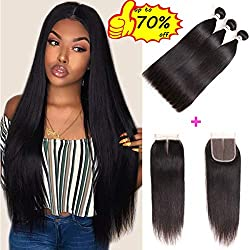 """Mirthful Brazilian Virgin Straight Hair 3 Bundles With Closure 4""""x4"""" Inch Middle Part 8A 100% Unprocessed Brazilian Remy Human Hair Weft With Lace Closure Natural Black(10 12 14 w 10 middle part)"""