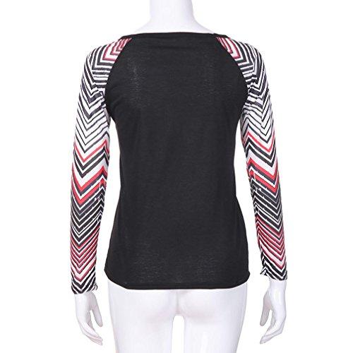 a Nero Tops Donna Pulsante ABCone Elegante V Felpa T Shirt Autunno di Lunghe Stampa Maniche Scollo con Camicie Pullover Camicette Casual Rw88dqnH