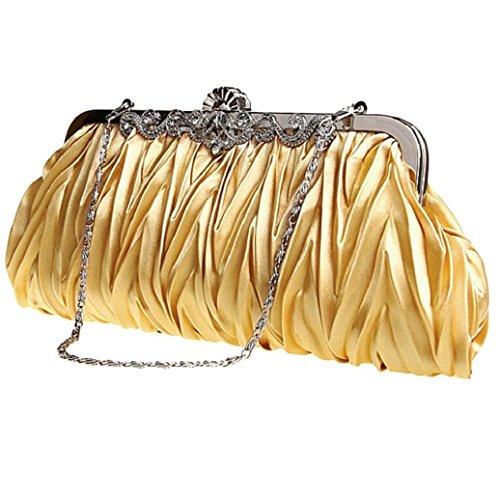 Satin Wedding Golden Purse Prom Bodhi2000® Bag Party Clutch Cocktail Evening Vintage Ladies Bridal TxaqEA