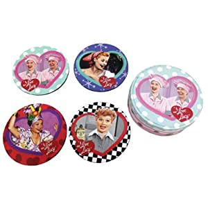 "Westland Giftware ""I Love Lucy"" Coasters, 4-Inch Diameter, Set of 4"