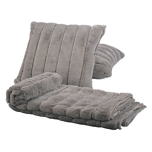 Home Soft Things Rabbit Fur Throw with 2 Pillow Combo Set, 50 x 60 , Silver
