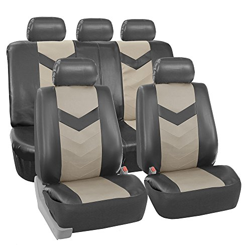 FH Group FH-PU021115 Synthetic Leather Full Set Auto Seat Covers, Light/Dark Gray Color- Fit Most Car, Truck, Suv, or Van