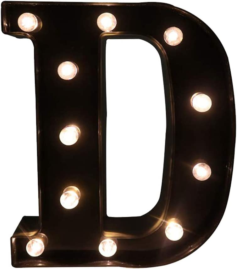 Glintee LED Marquee Letter Lights Black Alphabet Light Up Sign for Wedding Home Party Bar Decoration Battery Powered Letter Decor-D