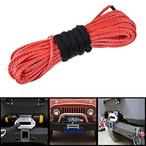 50' x 1/4'' Red Strong Durable Synthetic Fiber Winch Rope 6400lbs Fastness ATV UTV KFI SUV Car Motorcycle