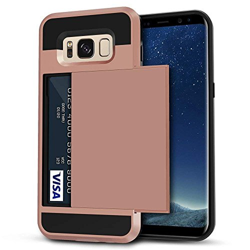 Galaxy S8 Plus Case, Anuck Slide Cover Galaxy S8 Plus Wallet Case [Card Pocket][Hard Shell] Shockproof Armor Rubber Bumper Case With Slidable Card Slot Holder for Samsung Galaxy S8 Plus - Rose Gold