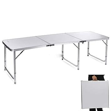 Mesa Plegable de Aluminio con Altura Ajustable y asa de Transporte ...