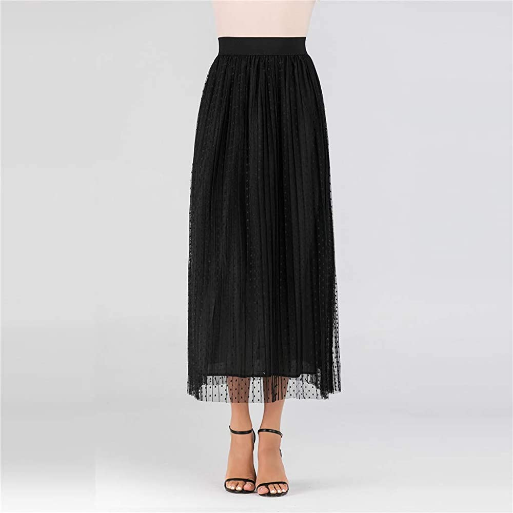 beautyjourney Falda de Mujer Falda de Tul Falda Larga Elegante de ...