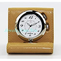 MontBlanc Boheme Biege Leather Travel Alarm Clock