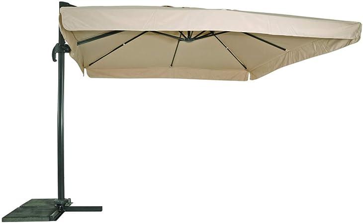 Lesli Living Sombrilla sombrilla (3 x 3 m Color Crudo PE – Funda Giratorio Soporte: Amazon.es: Hogar