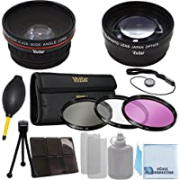 Vivitar 52mm 0.43x Wide Angle Lens + 2.2x Telephoto Lens + 3 Pieces Filter Sets with Deluxe Lens Accessories Kit for Pentax K-01 with 18-55mm Lens, K30 with 18-55mm Lens, K5 with 18-55 lens, K5II with 18-55mm Lens, KX with 18-55mm Lens, K7 with 18-55mm Lens, & K50 with 18-55mm Lens and Other Models.