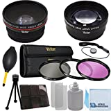 Vivitar 62mm 0.43x Wide Angle Lens + 2.2x Telephoto Lens + 3 Pieces Filter Set with Deluxe Lens Accessories Kit for Sony FDR-AX1 Digital 4K Video Camera Recorder, HDR-FX7, 3CMOS HDV 1080i, HVR-V1U HDV Camcorder, Nikon AF Zoom Nikkor 70-300mm f/4-5.6G Lens