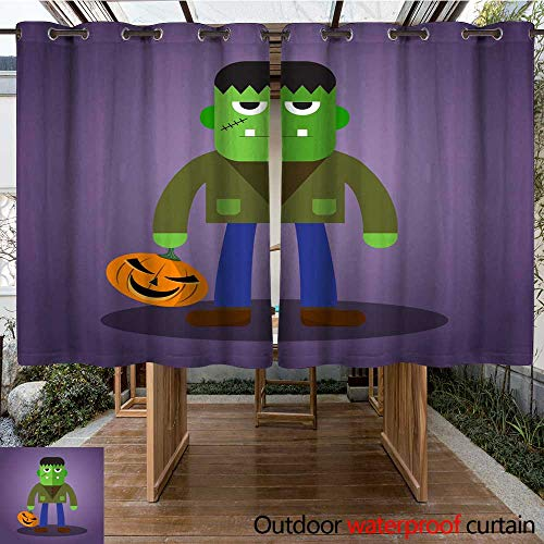 RenteriaDecor Outdoor Ultraviolet Protective Curtains Frankenstein Cute Halloween Character W63 x L72 ()