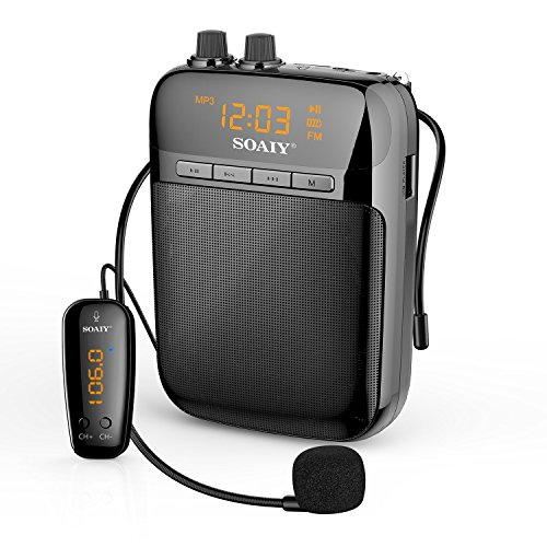 SOAIY S518W Ultralight Portable Voice Amplifier with Wireless Transmitter and LED Display, 2000mAh Rechargeable Loudspeaker with FM, for School, Super Market, Meeting, Training, (Wireless Amplifier)