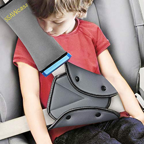 - Seat Belt Adjuster and Pillow with Clip for Kids Travel,Soft Neck Support Headrest Seatbelt Pillow Cover & Seatbelt Adjuster for Child,Car Seat Strap Cushion Pads for Baby Short People Adult (Gray)