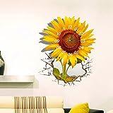 """GoFurther SZ068 DIY STICKER 3D Art Wall Clock Sunflower Clock Sticker Office Home Wall Decor Gift 18""""x15"""""""