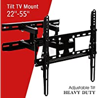 YHG TV Wall Mount Tilt Bracket for Most 22-55 LCD LED Plasma Flat Screen Monitor with Full Motion Swivel Articulating Dual Arms, Up to VESA 400x400mm and 88 LBS