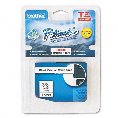 Brother P-Touch : TZ Standard Adhesive Laminated Labeling Tape, 3/8w, Black on White -:- Sold as 2 Packs of - 1 - / - Total of 2 Each by Brother