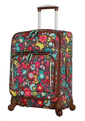 Lily Bloom Luggage Carry On Expandable Design Pattern Suitcase For Woman With Spinner Wheels (Playful Garden, 20in)