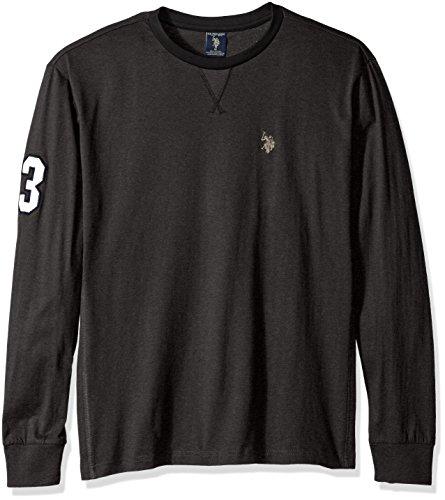 U.S. Polo Assn. Mens Long Sleeve V-Inset Crew Neck Knit Shirt