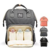 Diaper Bag Backpack for Baby Care, Multi-Functional Baby Nappy Changing Bag with Insulated Pockets, Waterproof Fabric, Large Capacity,Grey
