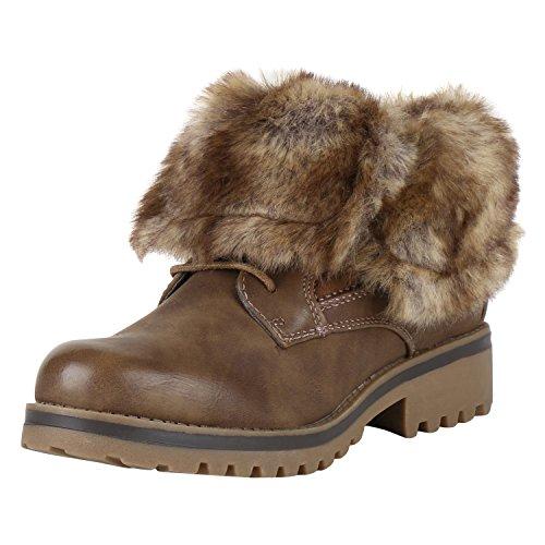 napoli-fashion Warm Gefütterte Damen Stiefeletten Outdoor Boots Kunstfell  Stiefel Jennika Khaki Braun ... 3742daf10a