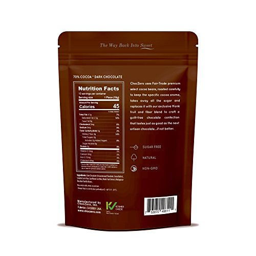 Large Product Image of ChocZero 70% Dark Chocolate, Sugar free, Low Carb, No Sugar Alcohol, No Artificial Sweetener, All Natural, Non-GMO - (3 Bags, 30 pieces)