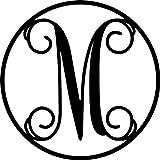AJD Designs 22CR M Circle Monogram Letter M, 19 1/2'' in Diameter, Black