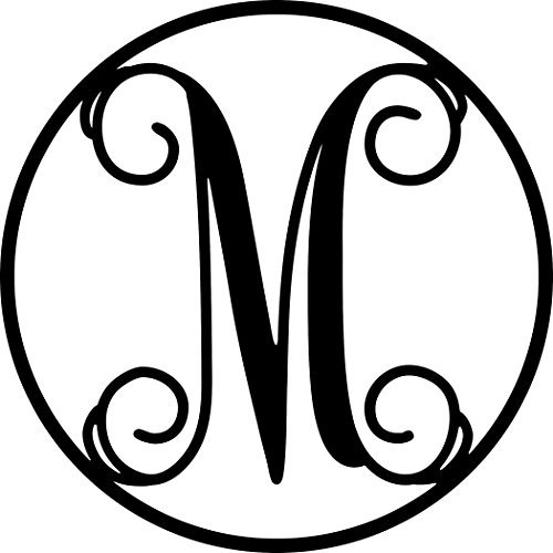 AJD Designs 22CR M Circle Monogram Letter M, 19 1/2'' in Diameter, Black