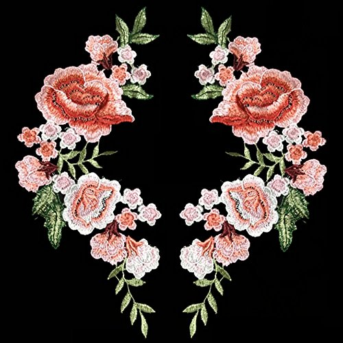 2pcs Beautiful Flowers Embroidered Iron on Applique Patches (Iron On Embroidered Patches)